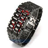خرید ساعت مچی سامورایی مشکی با ال ای دی قرمز