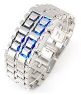 خرید ساعت مچی سامورایی نقره ای با ال ای دی آبی
