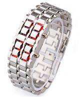 خرید ساعت مچی سامورایی نقره ای با ال ای دی قرمز