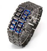 خرید ساعت مچی سامورایی مشکی با ال ای دی آبی